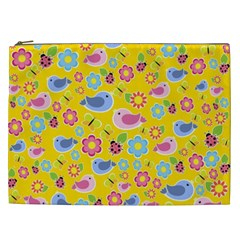 Spring Pattern   Yellow Cosmetic Bag (xxl)  by Valentinaart