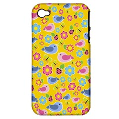 Spring Pattern   Yellow Apple Iphone 4/4s Hardshell Case (pc+silicone) by Valentinaart