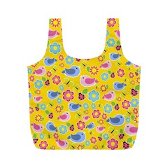 Spring Pattern   Yellow Full Print Recycle Bags (m)  by Valentinaart