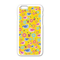 Spring Pattern   Yellow Apple Iphone 6/6s White Enamel Case by Valentinaart