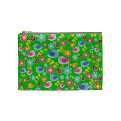 Spring Pattern   Green Cosmetic Bag (medium)  by Valentinaart