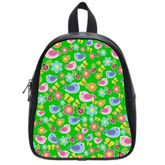 Spring Pattern   Green School Bags (small)  by Valentinaart