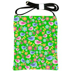Spring Pattern   Green Shoulder Sling Bags by Valentinaart