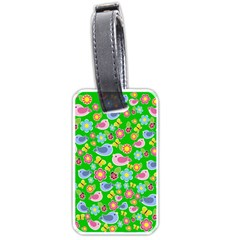 Spring Pattern   Green Luggage Tags (one Side)  by Valentinaart