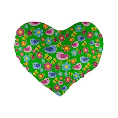 Spring Pattern   Green Standard 16  Premium Flano Heart Shape Cushions by Valentinaart