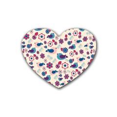 Vintage Spring Rubber Coaster (heart)  by Valentinaart