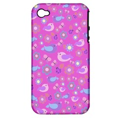 Spring Pattern   Pink Apple Iphone 4/4s Hardshell Case (pc+silicone) by Valentinaart