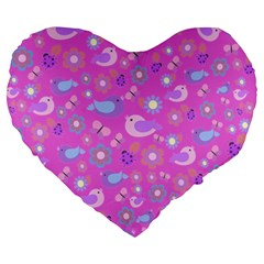 Spring Pattern   Pink Large 19  Premium Heart Shape Cushions by Valentinaart