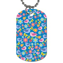 Spring Pattern   Blue Dog Tag (one Side) by Valentinaart