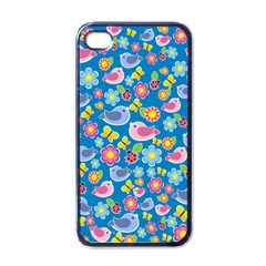 Spring Pattern   Blue Apple Iphone 4 Case (black) by Valentinaart