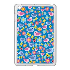 Spring Pattern   Blue Apple Ipad Mini Case (white) by Valentinaart
