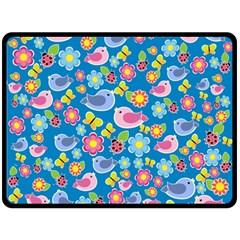 Spring Pattern   Blue Double Sided Fleece Blanket (large)  by Valentinaart