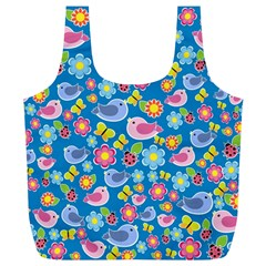 Spring Pattern   Blue Full Print Recycle Bags (l)  by Valentinaart