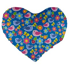 Spring Pattern   Blue Large 19  Premium Flano Heart Shape Cushions by Valentinaart