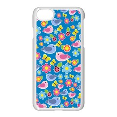 Spring Pattern   Blue Apple Iphone 7 Seamless Case (white) by Valentinaart