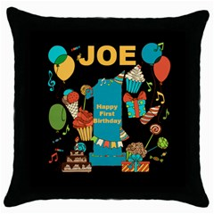 Happy First Birthday Black Throw Pillow Case