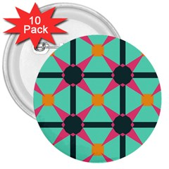 Pink Stars Pattern                                                          3  Button (10 Pack) by LalyLauraFLM