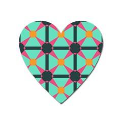 Pink Stars Pattern                                                          magnet (heart) by LalyLauraFLM