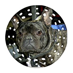French Bulldog Brindle Round Filigree Ornament (Two Sides)