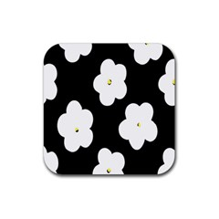April Fun Pop Floral Flower Black White Yellow Rose Rubber Square Coaster (4 Pack)  by Jojostore
