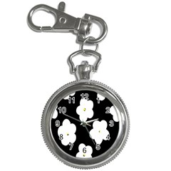 April Fun Pop Floral Flower Black White Yellow Rose Key Chain Watches by Jojostore
