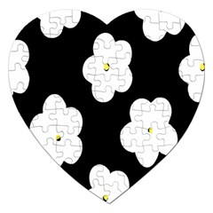 April Fun Pop Floral Flower Black White Yellow Rose Jigsaw Puzzle (heart) by Jojostore
