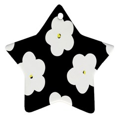 April Fun Pop Floral Flower Black White Yellow Rose Star Ornament (two Sides) by Jojostore
