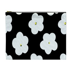 April Fun Pop Floral Flower Black White Yellow Rose Cosmetic Bag (xl) by Jojostore
