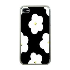 April Fun Pop Floral Flower Black White Yellow Rose Apple Iphone 4 Case (clear) by Jojostore