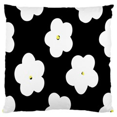 April Fun Pop Floral Flower Black White Yellow Rose Large Flano Cushion Case (two Sides) by Jojostore
