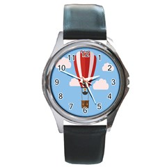 Air Ballon Blue Sky Cloud Round Metal Watch by Jojostore