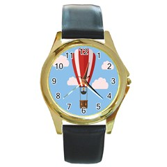 Air Ballon Blue Sky Cloud Round Gold Metal Watch by Jojostore