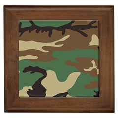 Army Shirt Green Brown Grey Black Framed Tiles by Jojostore