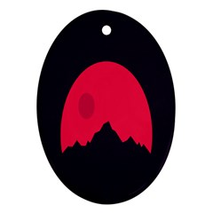Awesome Photos Collection Minimalist Moon Night Red Sun Oval Ornament (two Sides) by Jojostore