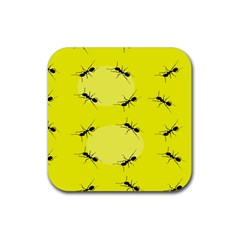 Ant Yellow Circle Rubber Coaster (square)  by Jojostore