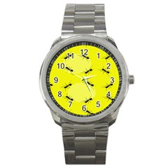 Ant Yellow Circle Sport Metal Watch by Jojostore