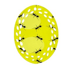 Ant Yellow Circle Oval Filigree Ornament (Two Sides)