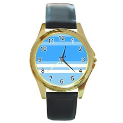 Blue Horizon Graphic Simplified Version Round Gold Metal Watch by Jojostore