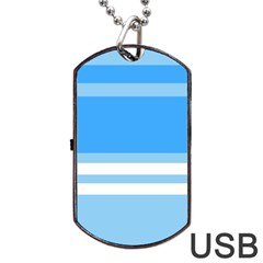Blue Horizon Graphic Simplified Version Dog Tag Usb Flash (two Sides) by Jojostore