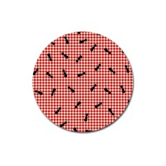 Ant Red Gingham Woven Plaid Tablecloth Magnet 3  (round) by Jojostore
