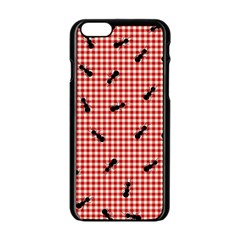 Ant Red Gingham Woven Plaid Tablecloth Apple Iphone 6/6s Black Enamel Case by Jojostore