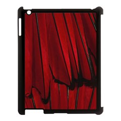 Black Red Flower Bird Feathers Animals Apple Ipad 3/4 Case (black) by Jojostore