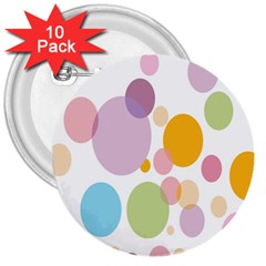 Bubble Water Yellow Blue Green Orange Pink Circle 3  Buttons (10 Pack)  by Jojostore