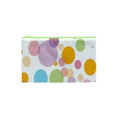 Bubble Water Yellow Blue Green Orange Pink Circle Cosmetic Bag (xs) by Jojostore