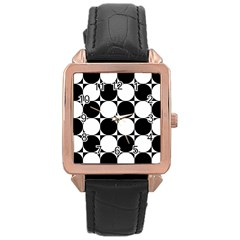 Circles Black White Rose Gold Leather Watch  by Jojostore