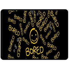 Bored Face Smile Sign Yellow Black Mask Double Sided Fleece Blanket (large)  by Jojostore