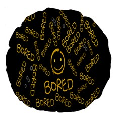 Bored Face Smile Sign Yellow Black Mask Large 18  Premium Flano Round Cushions by Jojostore
