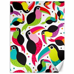 Colorful Toucan Retro Kids Pattern Bird Animals Rainbow Purple Flower Canvas 36  X 48   by Jojostore