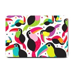 Colorful Toucan Retro Kids Pattern Bird Animals Rainbow Purple Flower Small Doormat  by Jojostore