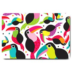 Colorful Toucan Retro Kids Pattern Bird Animals Rainbow Purple Flower Large Doormat  by Jojostore